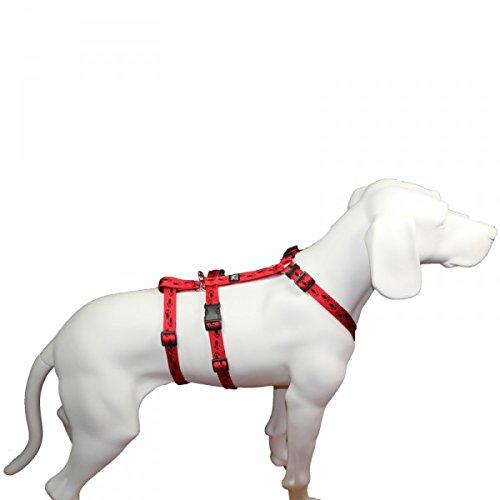 No Exit ausbruchsicheres Hundegeschirr für Angsthund, Sicherheitsgeschirr für Pflegehunde , Panikgeschirr, rot mit schwarzen Pfötchen, Bauchumfang 55-75 cm, 20 mm Bandbreite