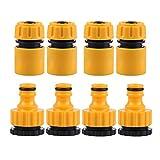 Ymwave 8 Piezas Conector de Manguera Conectores de Reparación de Manguera 1/2 Pulgada y 3/4 de Pulgada Tamaño 2 en 1 para Grifería de Jardín y Casa