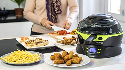 Cecotec Turbo CecoFry 4D Freidora Dietetica sin Aceite, 8 Menús Ajustables en Tiempo y Temperatura (100-240ºC), Cocina a 2 niveles, Pala Mezcladora, Incluye Recetario, 1350 W, Negro/Verde