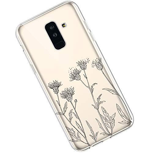 Qjuegad Kompatibel mit Samsung Galaxy A6 Plus 2018 Clear Ultra Slim Weiche TPU Flexibles Gemalte Blumenserie Silikon Stoßfest Leichtes,Kratzfestes Schutz Gehäuse hülle