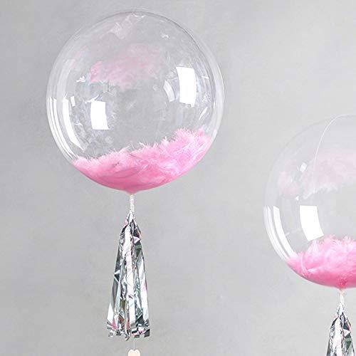 Transparenter Luftballon 60 cm -Schöner Dekorations-Ballon - befüllbar mit z.B. Federn oder Konfetti - Helium geeignet - Für Party Hochzeit Geburtstag Taufe Durchsichtig Riesenballon Rund Klar