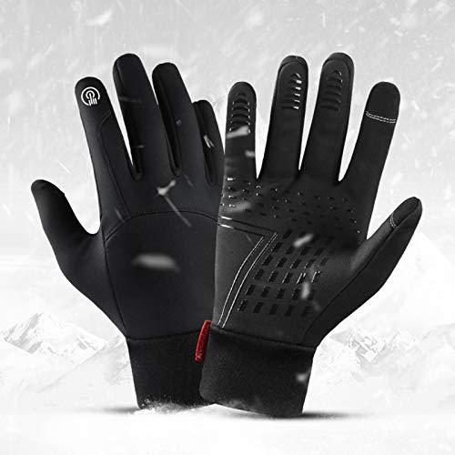 Skyeen Invierno hombres mujeres ciclismo guantes impermeables a prueba de viento forro polar pantalla táctil antideslizante guantes de esquí de bicicleta de dedo completo