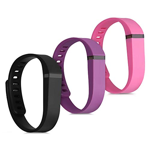 kwmobile TPU Watch Strap Compatible with Fitbit Flex - Set of 3 Fitness...