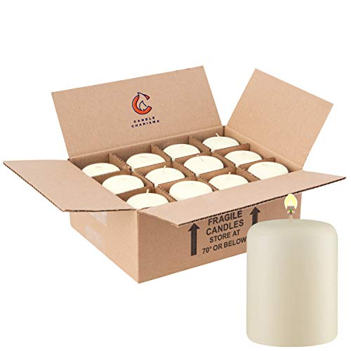 Ivory Pillar Candles 3x4 12 Pack for Wedding Dinner Restaurant Made in USA