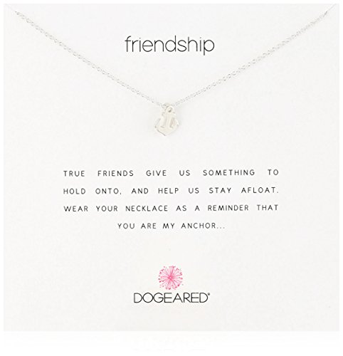 Dogeared Reminders-' Friendship' Sterling Silver Anchor Charm Necklace, 16'+2' Extender