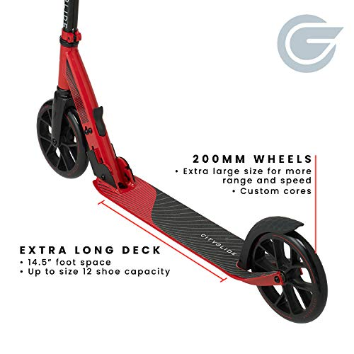 CITYGLIDE C200 Kick Scooter for Adults, Teens - Foldable, Lightweight, Adjustable - Carries Heavy Adults 220LB Max Load (Red)