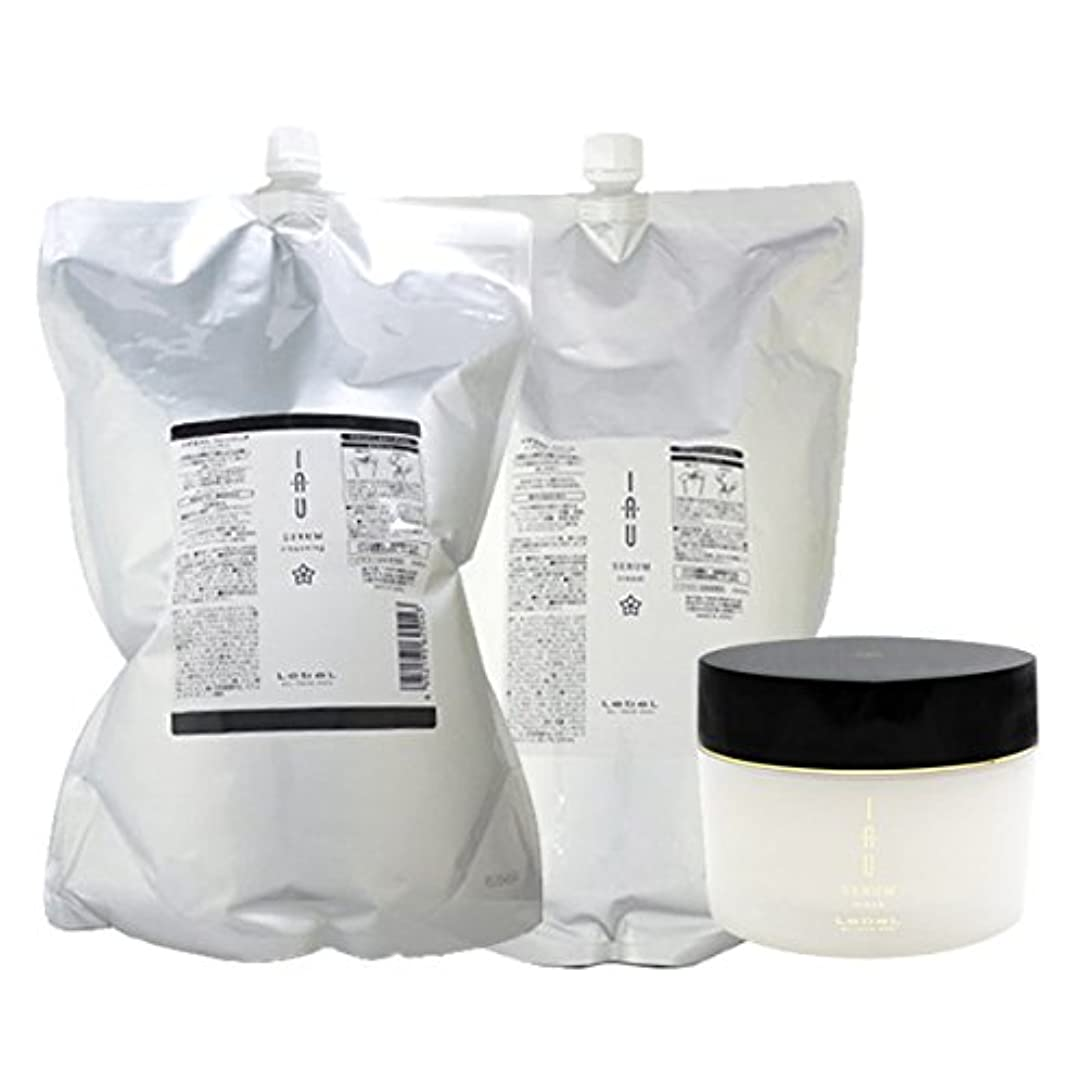 ポップ影のある入るルベル イオ セラム クレンジング(シャンプー) 2500mL + クリーム(トリートメント) 2500mL + マスク 170g 3点セット 詰め替え lebel iau serum