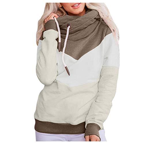 MINYING - Sudadera con capucha para mujer, talla grande, manga larga, otoño e invierno, informal, cálida, de algodón con contraste sólido, para mujer 01- Vert XXX-Large