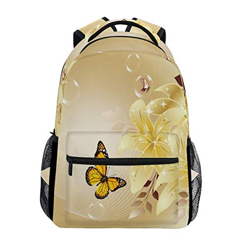 poiuytrew Mochila de Flores Amarillas con Mariposas Mochilas de Hombro para Estudiantes Mochila de Viaje Mochilas Escolares