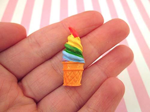 Review Rainbow Ice Cream Cabochons Ice Cream Cone Soft Serve Ice Cream, 079a(2 Pieces)