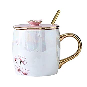 KEYIGOU 13.5oz Cherry Blossom Ceramic Mugs with Lid Gold Spoon Porcelain Coffee Milk Tea Cups Office Travel Cup with Gift Box for Women Lovers Friends