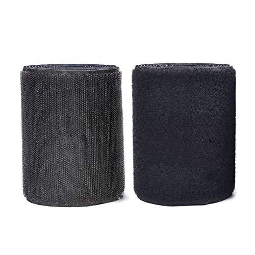 MARCHONE 11 cm di larghezza 2 metri di lunghezza Cucire On hook and loop strisce set di nylon tessuto stile Fastener,Black,Nero