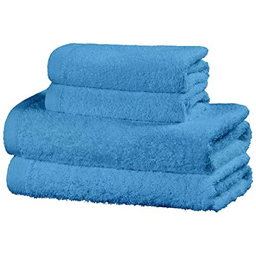Viste tu hogar Juego de 4 Toallas Hechas 100% de Algodón, Incluye 2 Toallas de Baño y 2 de Manos, Suaves y Absorbentes, Ideales para Uso Diario y Decoración, en Color Azul