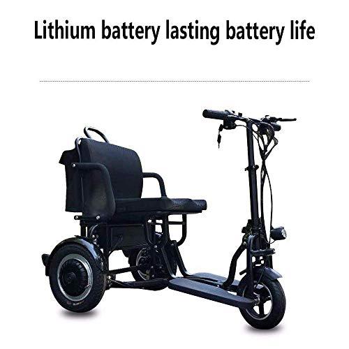 TTWUJIN Silla de Ruedas Ligera, Liviana Compacta de Ciclomotor Eléctrico, Mini Triciclo Eléctrico Scooter Eléctrico para Adultos de Litio Portátil para Discapacitados Batería de Edad Avanzada 48V Pue