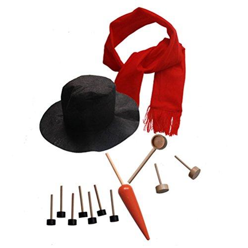 Tinksky Snowman Making Kits Tools Kit de décoration de bonhommes de neige Vacances d'hiver Jouets extérieurs Cadeau de Noël avec chapeau Écharpe Pipe Eyes Bouton Nose 13pcs
