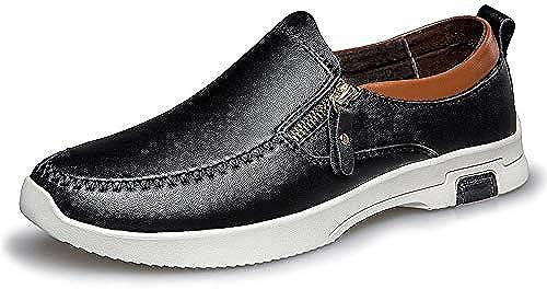 HILOTU Herren Driving Schuhe Aus Echtem Leder Mode Sport Casual Slip on Penny Loafers Schuhe (Farbe   Schwarz Größe   40 EU)