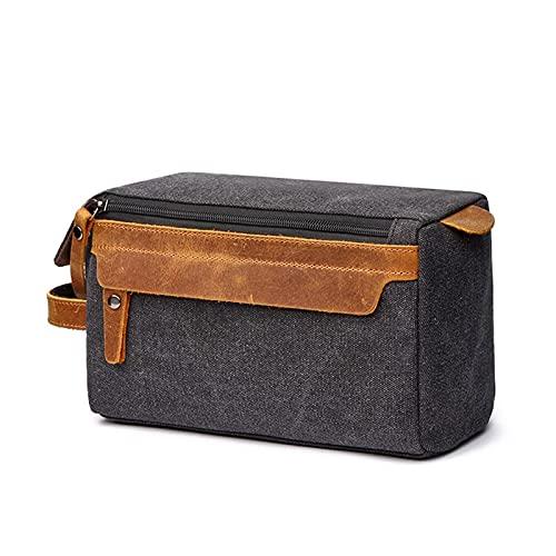 YYDMBH Bolsa de lavanderia Bolso de Aseo para Hombre para Hombre Bolsa de Kit de Cuero Dopp Kit de Viaje Bolsa de Afeitado para Hombre Bolsa de Aseo para Hombre Lienzo (Color : Black)