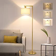 Fully Dimmable LED Floor Lamp, Modern Floor Lamp with Dimmer & Foot Switch, Gold Floor Lamp with Hanging Shade, Reading Light Tall Standing Lamp for Living Room Bedroom Office, 8W LED Bulb Included