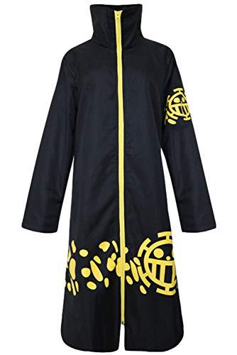 Disfraz De Anime Adulto Unisex Trafalgar Law Cosplay Capa Abrigo Negro Estampado Amarillo