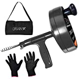 Drainx Pro Steel Drum Auger Plumbing Snake | Heavy Duty 25-Ft Drain Cable...