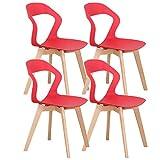Injoy Life - Juego de 4 sillas de cocina modernas de plástico con patas de madera maciza de haya para dormitorio, color rojo