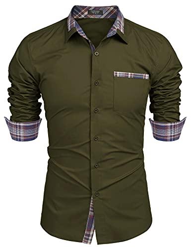 COOFANDY Men's Casual Long Sleeve Plaid Collar Dress Shirt Cotton Slim Fit Button Down Shirt Army Green