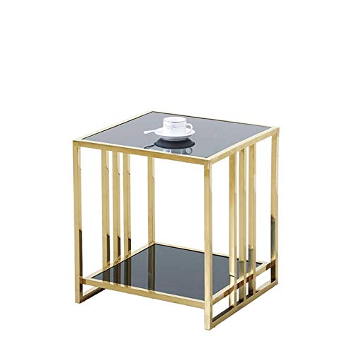Sofa Side Tables, Double Layer Bedside Table, Multifunctional Glass Coffee Table Hotel Bedroom Living Room Sofa Table,Black Design Lounge Table Snack Table