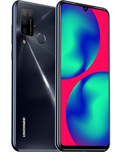 DOOGEE N20 Pro (2020) Smartphone ohne Vertrag Laser Rückwandplatine 6,3 Zoll FHD+ Display 4400mAh Akku 16MP AI Quad Kamera 6GB RAM+128GB ROM Dual SIM Android 10 Bluetooth 5,0 Handy(Schwarz)