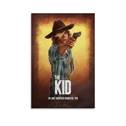 Qiuni Póster de TV Play Poster The Walking Dead Carl Grimes 1 póster decorativo de lienzo para pared de sala de estar, 30 x 45 cm
