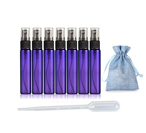 JJKMALL- 10 unidades púrpura 10 ml 1/3 oz atomizador portátil recargable atomizador de viaje botella de perfume hidratante botella vacía + 1 bolsa de almacenamiento de regalo + 1 cuentagotas de 3 ml