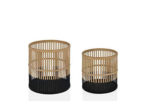 ANDREA HOUSE - Set de Dos maceteros de Madera de bambú Natural Ø30x30cm + Ø25x25cm