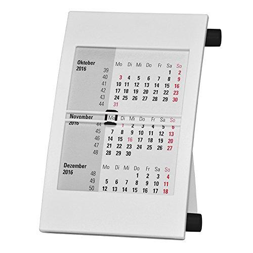 Truento 3-Monats-Tischkalender für 2 Jahre (2020 & 2021) - mit Drehmechanik - weiß/schwarz