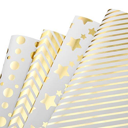 MOOKLIN ROAM Geschenkpapier, 4 Bogen Golddruck Packungen Geschenkpapier mit 4 Verschiedene Designs für Geschenk Geburtstag Hochzeit Taufe Party, Kinder, Männer, Damen, 70 x 50 cm