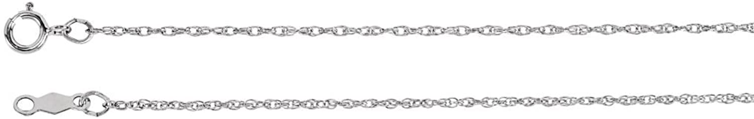 Beautiful White gold 14K Whitegold 1Mm Rope Chain With Spring Ring