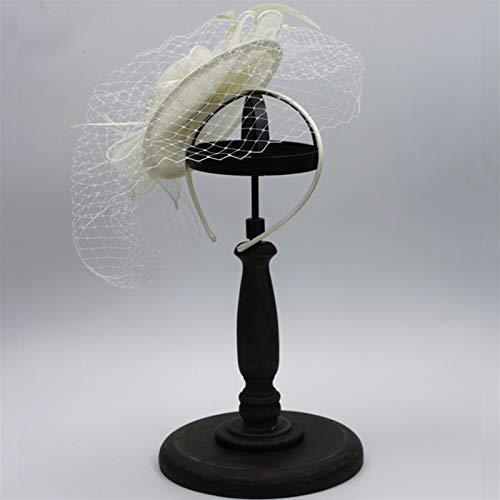 47-B Diadema De Las Mujeres, Capucha Decorativa De Flor De Malla Retro, Tocado Sombrero De Malla Vestido De Novia De Boda Joyería De Piso De Película (Color : Beige)