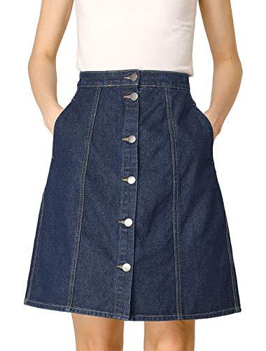 Allegra K Women's Denim Skirts Short Button Down Jeans Skirt Medium Navy Blue