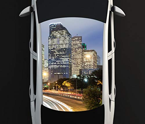 Digitaldruck Autoaufkleber Dach Skyline Houston Texas Stadt USA US Auto Tuning bunt Aufkleber Airbrush Racing Autofolie Car Wrapping CA328, D Aufkleber Größe:115cmx205cm