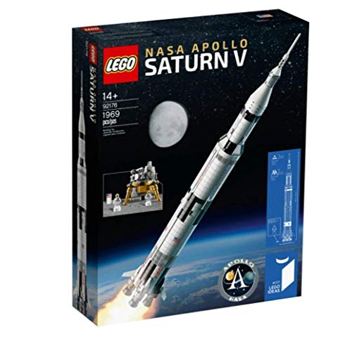 LEGO 92176 Ideas NASA Apolo Saturno V Nave Espacial y Vehículos para Coleccionistas, Set de Construcción con Soporte para Exposición
