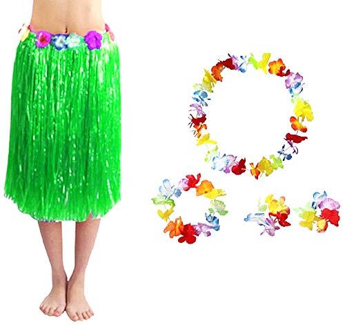 Hawaiiaanse rok - hawaii - rok - kroon - ketting - moana - armbanden - oceanië - vaiana - vermomming - accessoires - halloween - carnaval - vrouw - groen - 60 cm cosplay