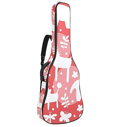 Bolsa para guitarra eléctrica de 41 106 cm, acolchada, impermeable, doble correa ajustable para el hombro, funda para guitarra con lazo para colgar en la parte trasera