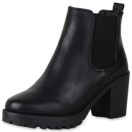 SCARPE VITA Damen Chelsea Boots Leicht Gefütterte Stiefeletten Plateau Schuhe 151411 Schwarz Total Leicht Gefüttert 40