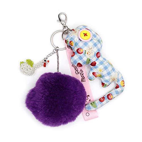 Schlüsselanhänger Stahl zu Handtasche, Bommel violett.