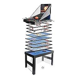 Mendler Tischkicker HWC-J16, Tischfußball Billard Hockey 20in1 Multiplayer Spieletisch, MDF 174x107x60cm - schwarz
