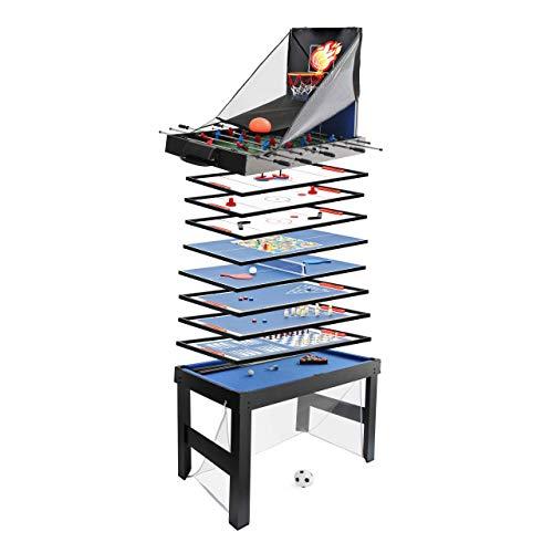 Mendler Calcetto biliardino Multiplayer Tavolo da Gioco 20in1 HWC-J16 78x107x60cm - Nero