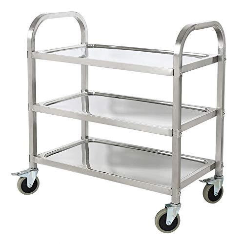 ALPIKA 3 Tier Stainless Steel Utility Rolling Cart Kitchen Island Trolley...
