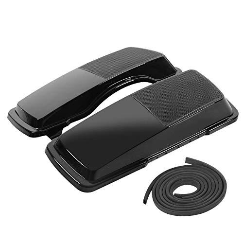 XFMT Motorcycles Black Saddlebag Speaker Lids Compatible with Harley Touring FLHR FLTR FLHX 1994-2013