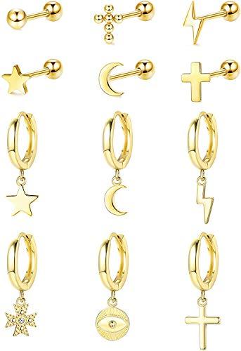 Milacolato 12Pcs 316L Acero inoxidable Luna Estrella Pendientes de botón Pendientes de Aro Colgantes para Mujeres Hombres CZ Cartílago de gota Joyería Pequeño Pendientes Aros Oro