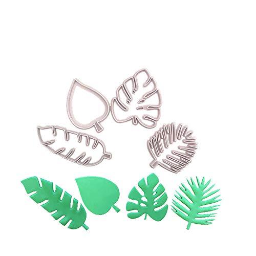 Gcroet 4pcs / Set Schildkröte Blatt-Form-Plätzchen-Form-Pflanzenblätter Silikon-Form-Fondant-Kuchen-Form DIY Backe Werkzeug-Form für Fondant-Kuchen-Dekoration