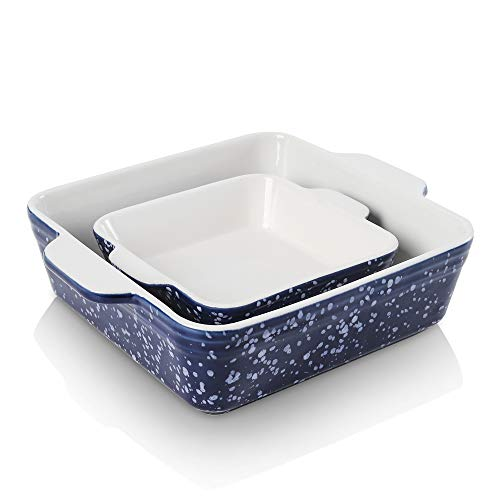 KOOV Ceramic Baking Dish Set of 2, Square Baking Pan 8 x 8 inches & 6 x 6 inches, Small Baking Dish Pans, Brownie Pan for Cooking, Cake Dinner, Kitchen, Snowflake Series (Aegean)