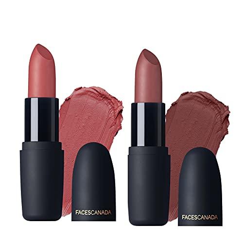 Faces Canada Weightless Matte Lipstick Set of 2 - Subtle Mauve & Peach Candy